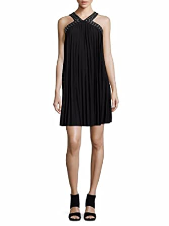 6a3a5e68380a michael michael kors guarmet trim pleated matte jersey halter leg dress  (Small)