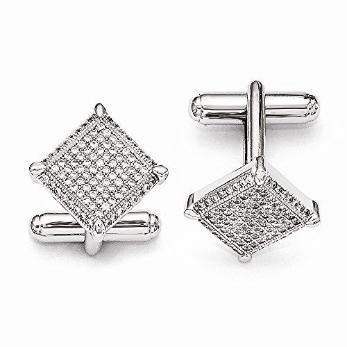 Sterling Silver Pave Rhodium-plated and Cubic Zirconia Brilliant Embers ()
