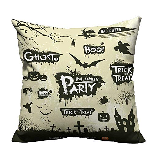 (fengruihome Home DecorCushion Covers Happy Halloween Silhouette Collections Design,Vector Perfect for Travel(Double-Sided Printing) 24x24)