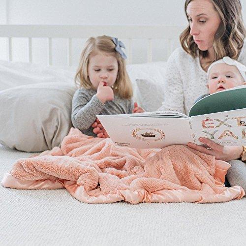 - Super Soft Plush Satin Border Baby Receiving Blankets, Peach