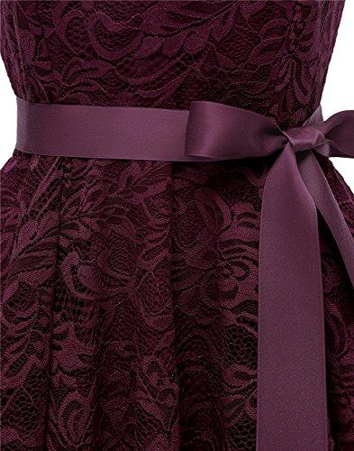 Elegante Escote Encaje Mujer V Fiesta Vestido Largo Borgoña Corto Berylove Vestido 8xqF5XEwF
