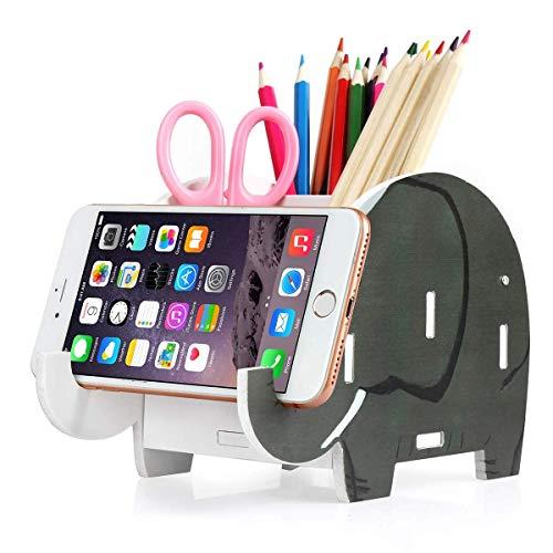 COOLBROS Elephant Pencil Holder with Phone Holder Desk Organizer Desktop Pen Pencil Mobile Phone Bracket Stand Storage Pot Holder Container Stationery Box Organizer (African Elephants)