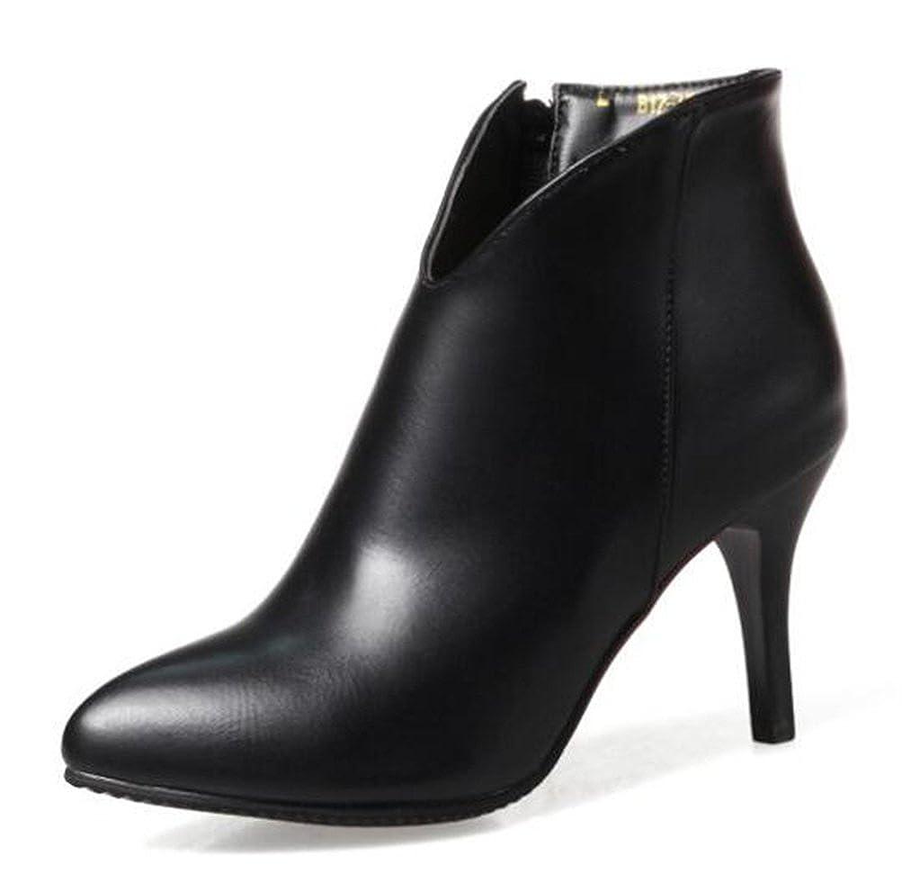 Easemax Damen Hübsch Spitze Zehe High Top Stilettos Ankle Stiefel Mit Absatz