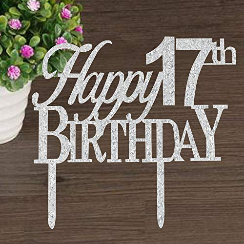 Risehy Happy 17th Birthday Cake Topper For Party Decorations Silver