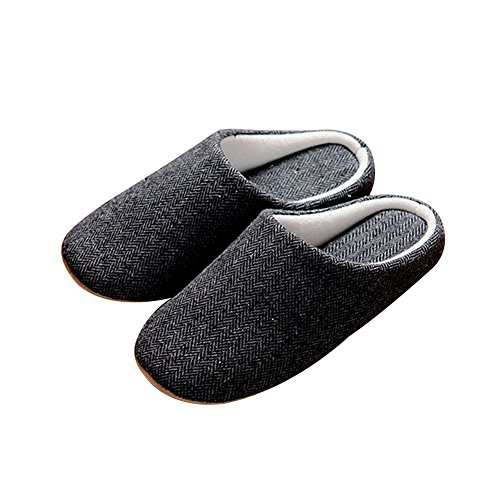 TELLW Black Men's cotton and hemp black Autumn winter indoor household warm slippers soft bottom good quality non-slip slippers