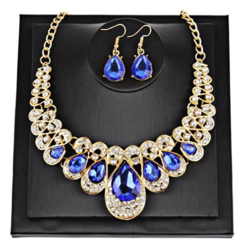 Botrong Crystal Necklace Water drops Earrings Necklace Jewelry Set (Light Blue Pearl)