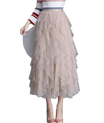 50a0a9c04 Femirah Women's High Waisted Ruffles Long Maxi Tulle Tutu Skirt One Size ( Apricot)