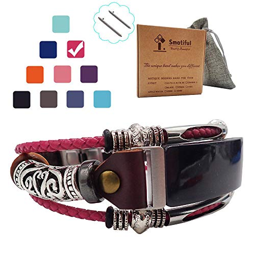 Box Waterproof Non (Smatiful Inspire Dressy Bands (Non Waterproof) with Box Pack for Womans, Adjustable Replacement Woven Leather Rope Watch Band for Fitbit Inspire, (Blush Plum Red) Shock Pink)