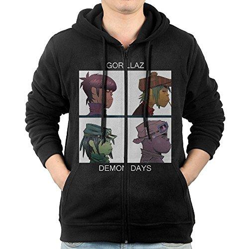 MEN Gorillaz Demon Days Zip Hoodie Sweatshirt (Day Zip Hoodie)