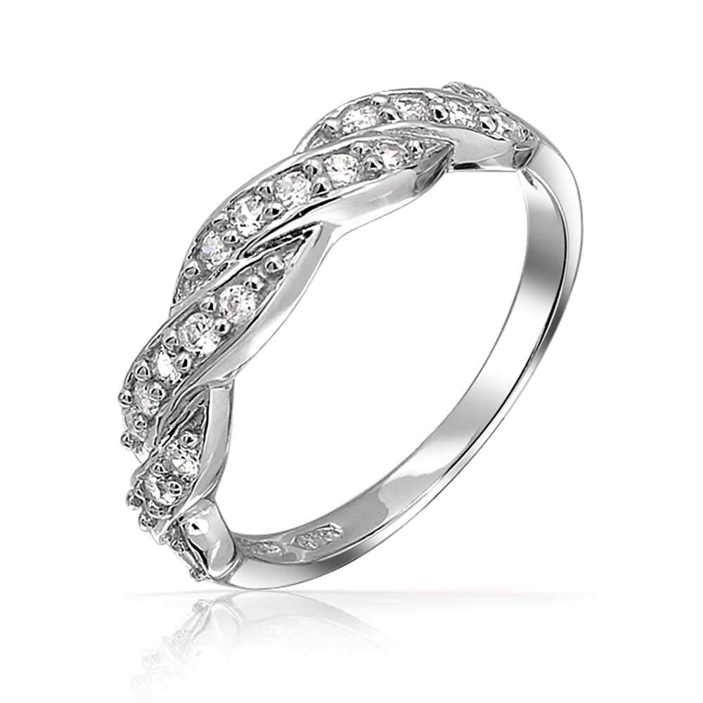 Amazon Micro Pave Cubic Zirconia Aaa Cz Stackable Twisted Braid Infinity Anniversary Wedding Band Ring 925 Sterling Silver 3mm Jewelry: Half Infinity Wedding Band At Websimilar.org