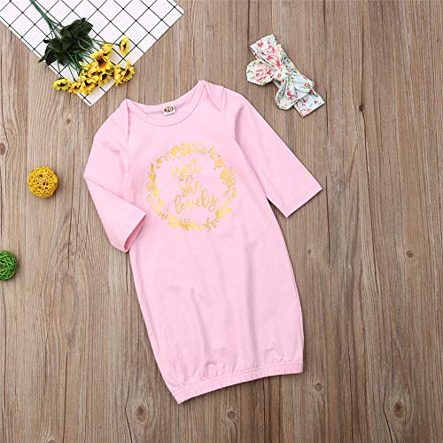 Newborn Baby Girl Floral Sleeper Gowns Long Sleeve Knotted Nightgown Infant Sleeping Bag Coming Home Outfit Clothes