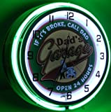 DAD'S GARAGE 18'' DOUBLE NEON LIGHT WALL CLOCK MAN CAVE WORKSHOP TIN METAL SIGN GREEN