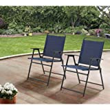 Mainstays Pleasant Grove Sling Bistro, Dining and Seating Outdoor Patio Furniture Folding Chair Set of 2 - Dark Blue