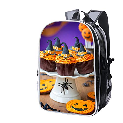 High-end Custom Laptop Backpack-Leisure Travel Backpack A Plate of Halloween Cupcakes with Orange Frosting Water Resistant-Anti Theft - Durable -Ultralight- Classic-School-Black -