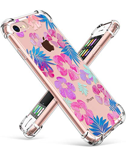 (GVIEWIN Clear Flower Designed for iPhone 8 Case/iPhone 7 Case, Soft TPU Silicone Ultra-Thin Slim Fit Transparent Flowers Flexible Cover Perfect Grip for iPhone 7, iPhone 8 (Fancy Leaves/Purple))