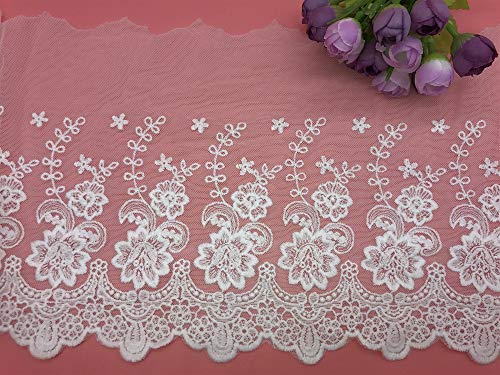 - 21CM Width Europe Rose Wedding Applique Inelastic Embroidery Lace Trim,Curtain Tablecloth Slipcover Bridal DIY Clothing/Accessories.(2 Yards in one Package) (White)