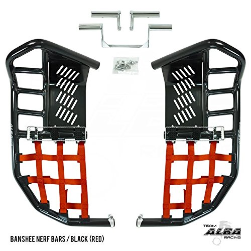Yamaha Banshee YFZ 350 (1987-2006) Propeg Nerf Bars Black with Red Net (More Net Color Choices ()