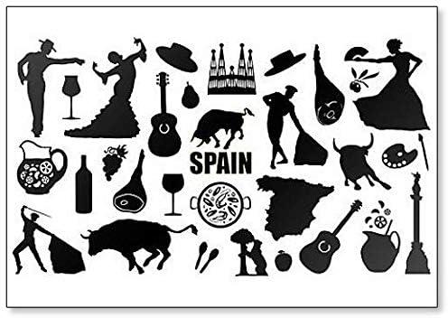 Imán para nevera con siluetas y símbolos de España: Amazon.es: Hogar