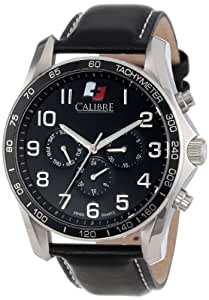 "Calibre Men's SC-4B1-04-007 ""Buffalo"" Stainless Steel and Black Leather Watch"
