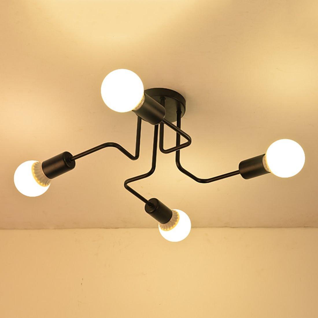 Ruanpu Modern Deckenleuchte Deckenlampe E27 Sockel für Wohnzimmer Schlafzimmer Küche Restaurant Café Hotel Diele Keller Untergeschoss Dekoration (Keine Leuchtmittel)