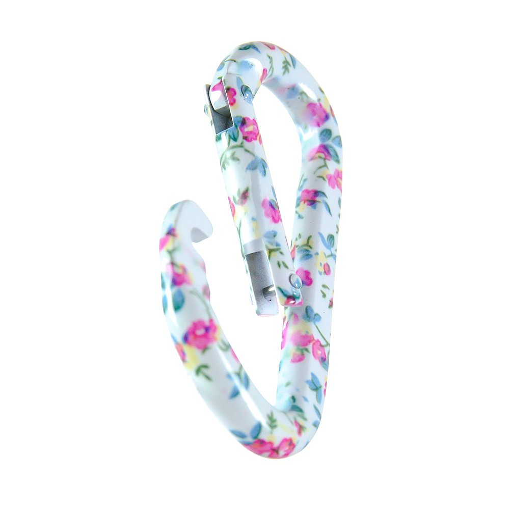 Fusion Climb FP-2391-01-5P I-Clip 3.25-Inch Aluminum Novelty Design Compact Carabiner Keychain Backpack Snap Hook Flower Pastel 5-Pack White Red Green