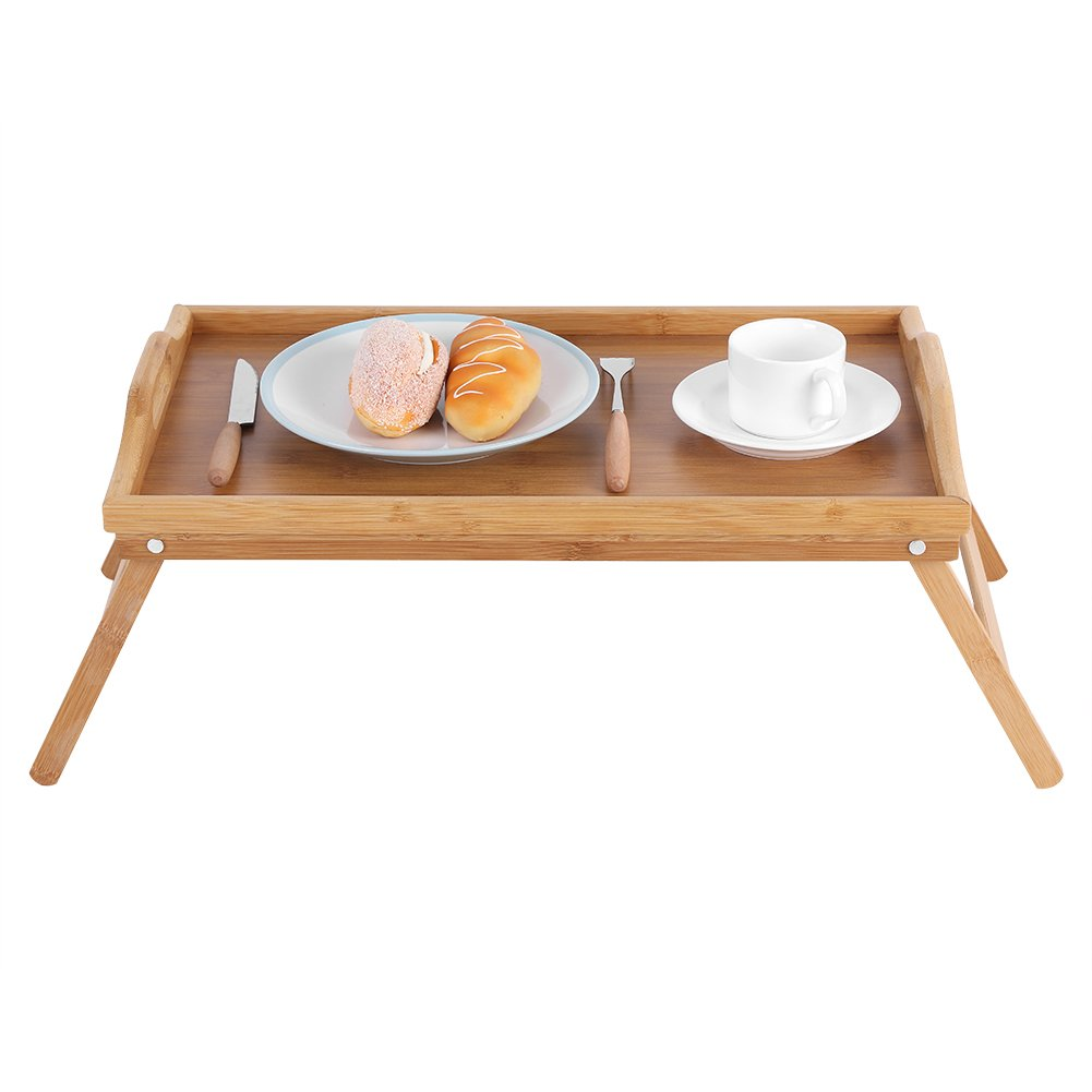 Bed Tray, Breakfast Laptop Desk Portable Bamboo Wood Bed Tray Tea Food Serving Table With Folding Leg