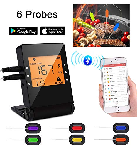 Meat Thermometer, Bluetooth Grilling Cooking Thermometer with 6 Probes, Wireless Remote Digital Thermometer for Oven Kitchen Smoker BBQ, iPhone & Android Phone Supported By Heesai