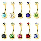 CrazyPiercing Set of 10pcs 14GEM Double Gem Belly Button Ring Body Jewelry Piercing Ring 10 pcs, Gold color by CrazyPiercing