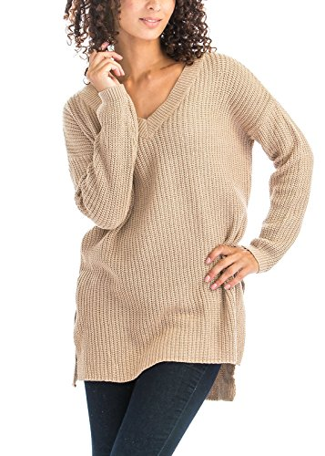 V-Neckline High Side Slits Long Sleeve Oversize Thin Pullover Knit Sweaters