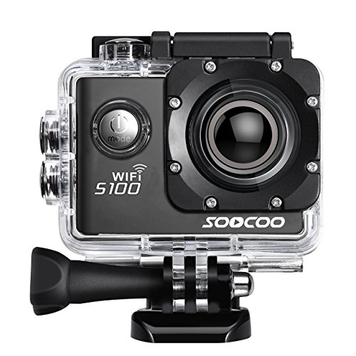 4K WIFI Sports Action Camera, SOOCOO S100 Action Camera Ultra HD Waterproof DV Camcorder 20MP 170 Degree Wide Angle 2 inch LCD Screen/2 Batteries/17 Mounting Kits-Black Shenzhen Discovery Technology co., LTD