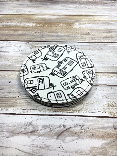 Egg Camper Fabric Coasters. Set of 4. READY to SHIP