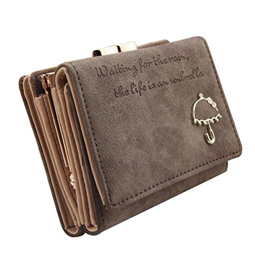 (The Orient Bee Women's Vintage Trifold Suede Leather Clutch Bric Cards Holder Mini Wallets(coffee))