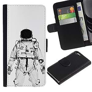 iKiki Tech / Cartera Funda Carcasa - Astronaut Cosmonaut White Black - Apple iPhone 5 / 5S