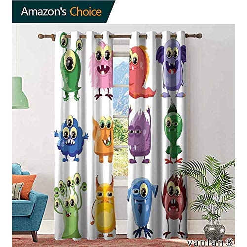 - LQQBSTORAGE Funny,Curtains Thermal Insulated,Animated Bacteria Aliens Theme Germ Whimsical Cartoon Monsters Humor Faces Graphic, Room Darkening Curtains for Boys Bedroom,Multicolor