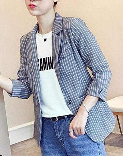 Domple Womens Autumn Outwear Stripe Lapel Slim One-Button Blazer Coat Aspic US S by Domple (Image #1)'