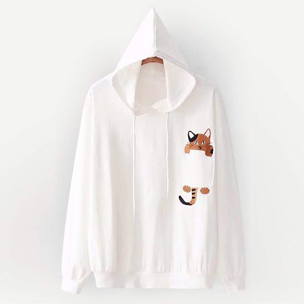 PIKAqiu33 Fashion Women Long Sleeve Print Sweatshirt Hooded Pullover Loose Tops