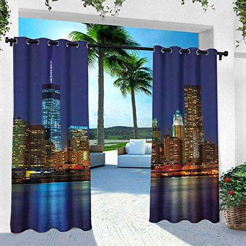 Urban, for Patio Light Block Heat Out Water Proof Drape,Manhattan Sunset Skyline New York Cityscape USA Night Lights Buildings Skyscrapers, W96 x L108 Inch, - Cars Motor Manhattan