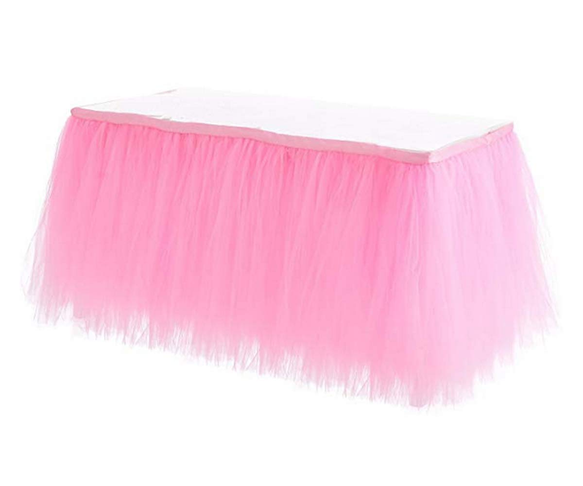HBB Kids Handmade Tutu Tulle Table Skirt Cover for Girl Princess Birthday Party, Baby Shower, Slumber Party & Home Decoration-Beautiful, Eye Catching & Unforgettable Party Centerpiece, 2 yd, Pink by HB HBB MAGIC