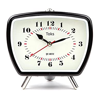Lily's Home Vintage/Retro Inspired Analog Alarm Clock, Black 5.5""