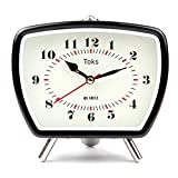 Lily's Home Vintage Retro Inspired Analog Alarm Clock, Looks Like Miniature Television Set with Silver Legs, Small Stylish Clock Adds Character to Any Bedroom, Black (5 1/2' Tall x 5 3/4' Wide)