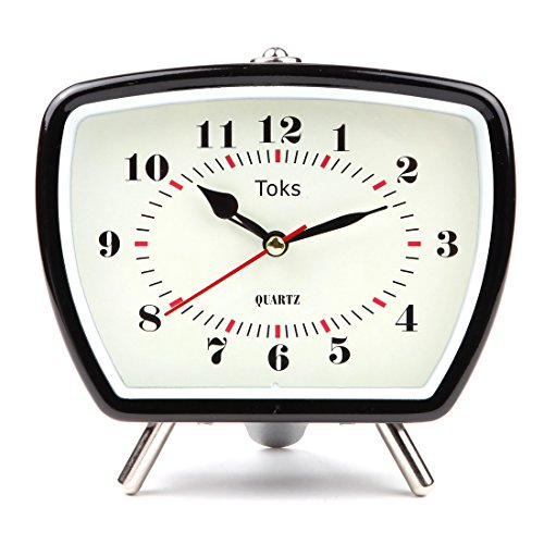 Lily's Home Vintage Retro Inspired Analog Alarm Clock, Looks Like Miniature Television Set with Silver Legs, Small Stylish Clock Adds Character to Any Bedroom, Black (5 1/2 Tall x 5 3/4 Wide)