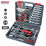 Hi-Spec 55pc Tool Box Metric Spanner Socket Set with 1/4inches, 3/8inches Drive Metric Socket Sets (4mm-19mm), Socket Accessories, 8-16mm Combination Spanners, Claw Hammer, Long Nose Combination Pliers, Most Popular Tools Used By Mechanics, Automotive Tool Set in Sturdy Storage Case