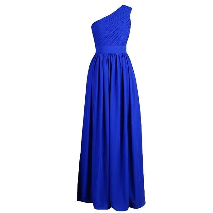eb7f26afc87 Kivary Royal Blue One Shoulder Long Simple Formal Chiffon Bridesmaid Prom  Dresses US2