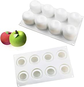 ANUNU Silicone Molds Baking for Mousse Cake, 3D Baking Molds Dessert Molds for Pastry Truffle Pudding Jelly Cheesecake, Apple Shape, 8-Cavity