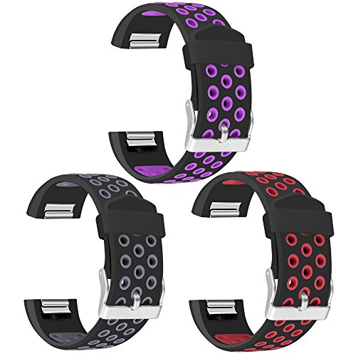 Mosstek For Fitbit Charge 2 bands, 3 Pack Breathable Silicone Replacement Sport Bands with Air Holes for Fitbit Charge 5 Smartwatch Fitness - Breathable Air