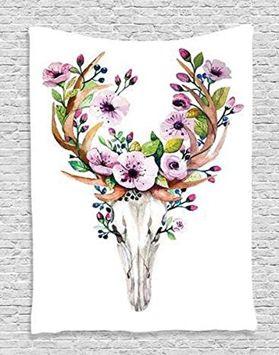 Shukqueen Tapestry, The Skeleton Deer Head with Flower On The Horn Wall Art Tapestry Dorm Decor (148200cm, Deer)