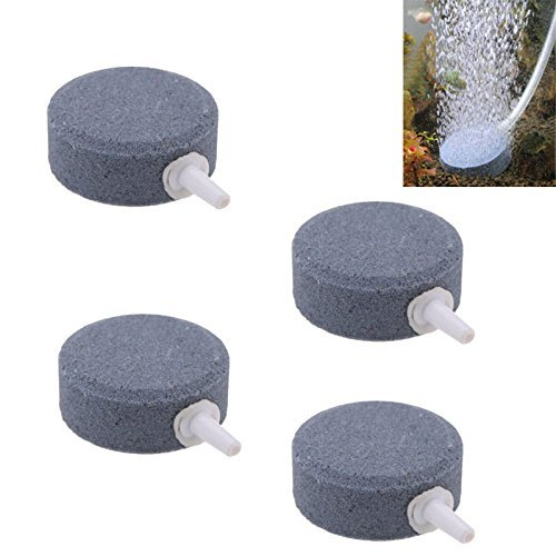 Yueton Pack of 4 Round Shaped Aquarium Fish Tank Air Bubble Disk Stone Airstone