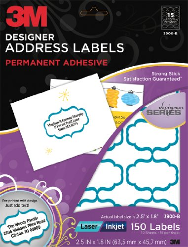 3M Designer Address Labels for  Laser/Inkjet Printers, White, Blue Scroll, 1.8 x 2.5 Inches, 10 Sheets per Pack (3900-B)