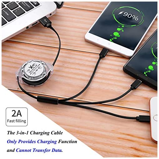 SDBAUX Multi 3 in 1 Retractable Charging Cable 2Pack/3.3ft,Fast Charge USB Charger Cord with iP/Type C/Micro USB Port Compatible Phone 11 Pro Max XS XR X 8 7 Plus Samsung Galaxy Google Pixel LG Huawei