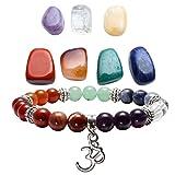 Top Plaza 7 Chakra Reiki Healing Crystals Yoga Balance Irregular Shape Polished Tumbled Palm Stones W/7 Chakra Healing Crystal Bracelet (OM Symbol)